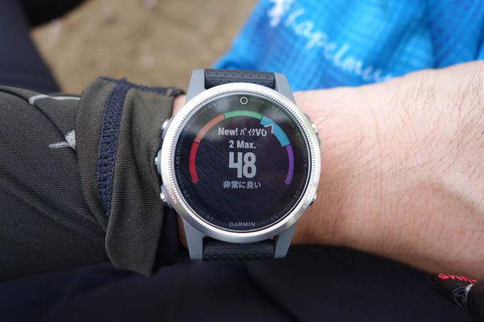 走り終わると、いろいろアドバイスが出ます。これは、最大酸素摂取量(VO2MAX)が更新されたとき。