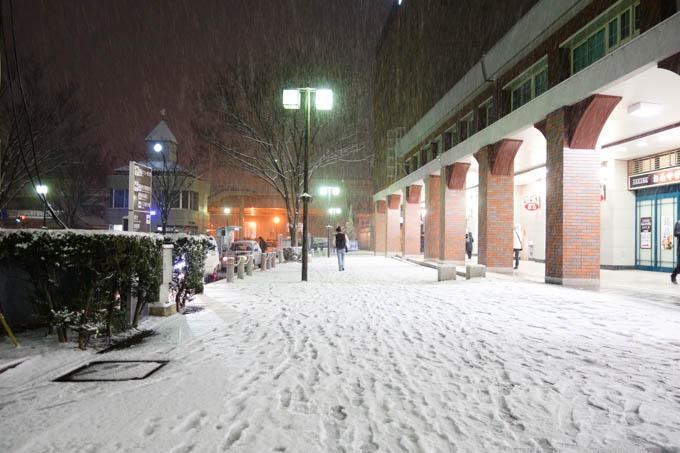 雪が降り始めた福島駅。もっと降って~(^^)
