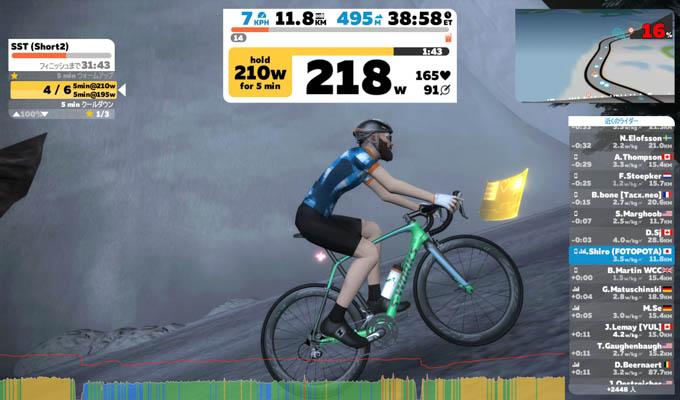 16%勾配の激坂を218Wで登っているところ。キツイ・・・!