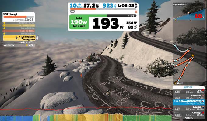 Alpe du Zwiftの挑戦中。あまりに長く、高いのでめげそうです。