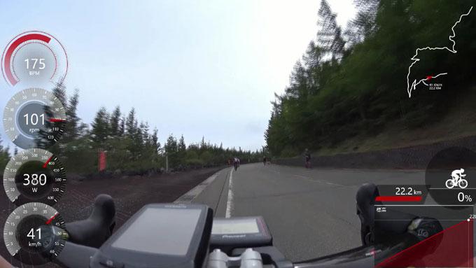 この日の最高速!(41km/h) 気分爽快の5合目手前です。