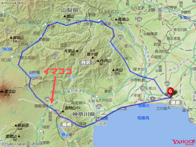 小田原まで出れば、あとは海辺の平たん路(のはず)
