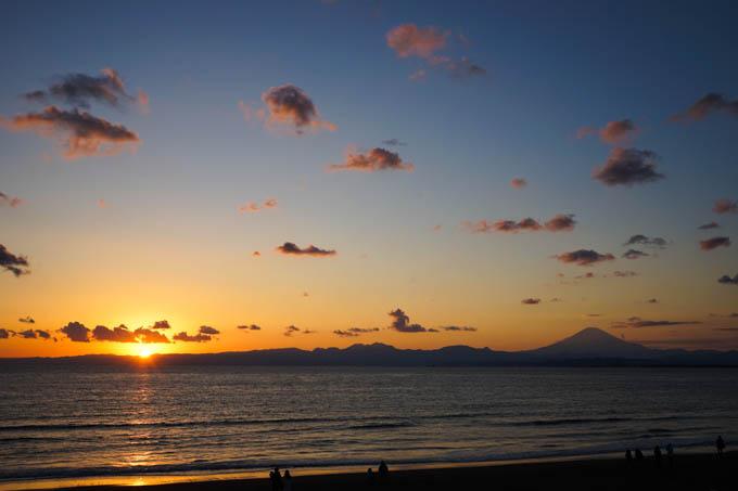 〆はいつもの夕焼け海岸&富士山です(^^)