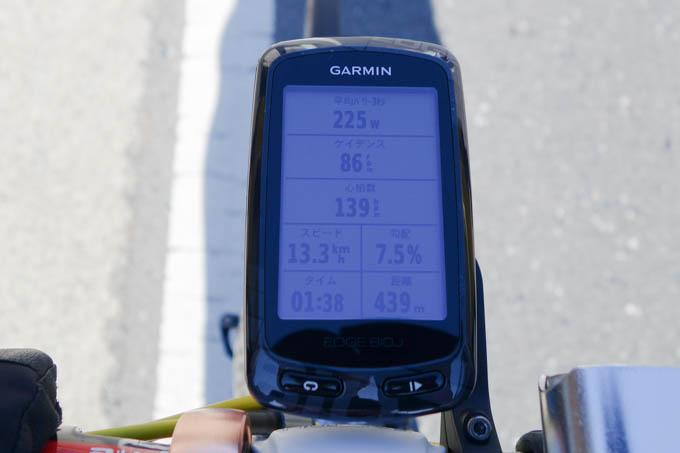 序盤~中盤は、215~220Wくらいで調子よく走っていました。
