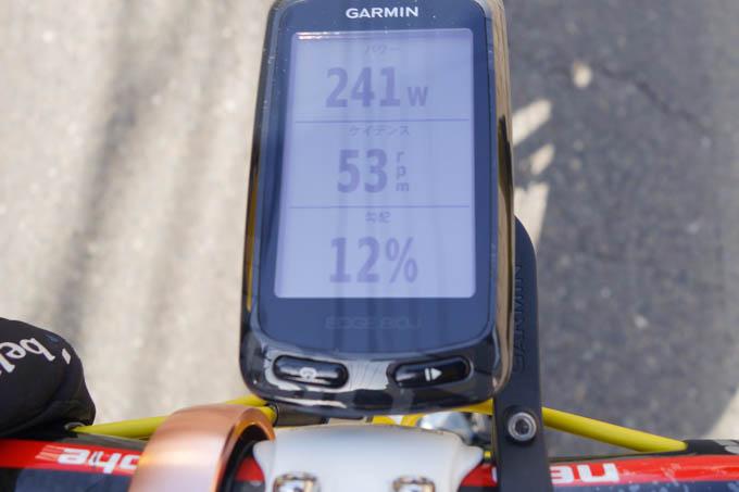 ケイデンス53rpmで、パワーは241W。パワーを下げると、ケイデンスはもっと下がっちゃう・・・。