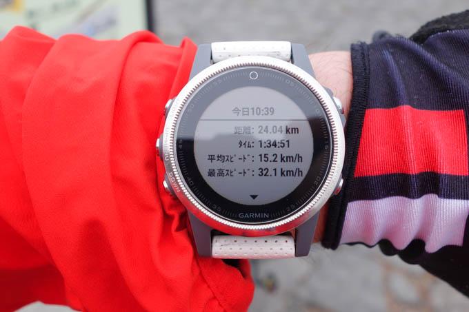 唯一、まともタイムを計測していたfenix 5sによると、1時間34分51秒。