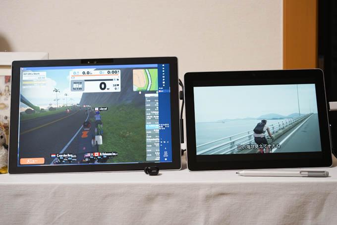 ある日のZWIFT風景。スタイラスペンでTV操作します。