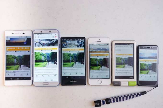 左から、Xperia Z4、SH-M08、SH-m03、iPhone SE、IIDA、Mini。ぶっちぎりの小ささです。