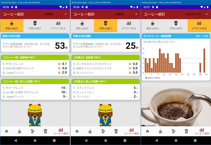 左から、家飲み、外飲み、全体グラフ。美味しい時の要因分析なども付けたいところ。