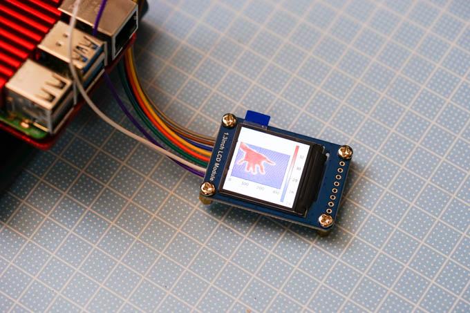 プログラムを書いて画像処理して、適当な液晶にサーモグラフィー的に描けます。